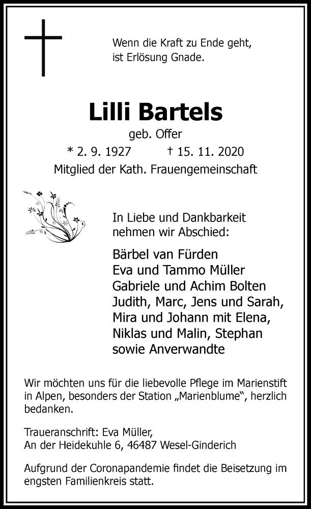 Traueranzeige für Lilli Barteis vom 18.11.2020 aus Rheinische Post