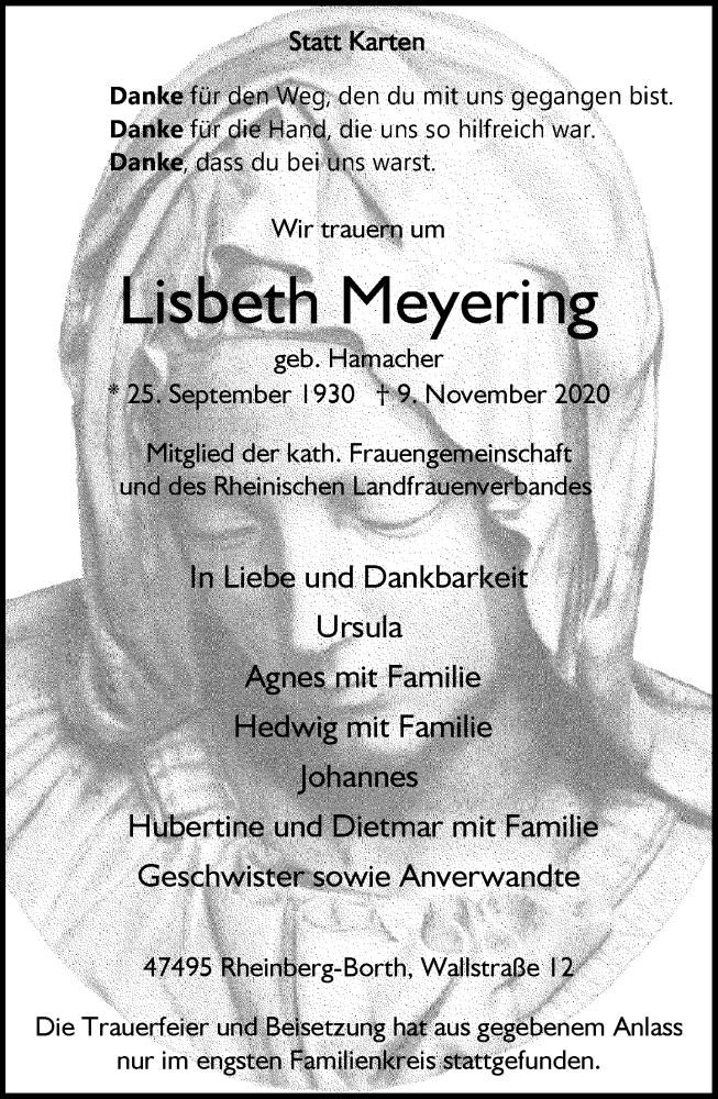 Traueranzeige für Lisbeth Meyering vom 14.11.2020 aus Rheinische Post