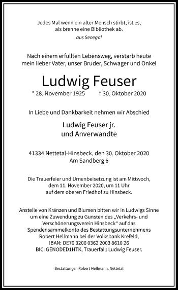 Traueranzeige von Ludwig Feuser von Rheinische Post