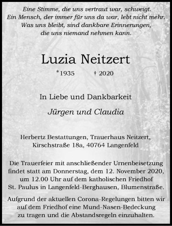 Traueranzeige von Luzia Neitzert von Rheinische Post