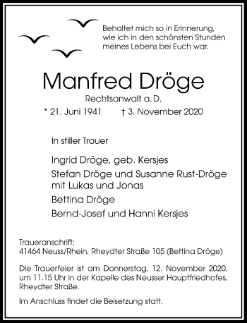Traueranzeige von Manfred Dröge von Rheinische Post
