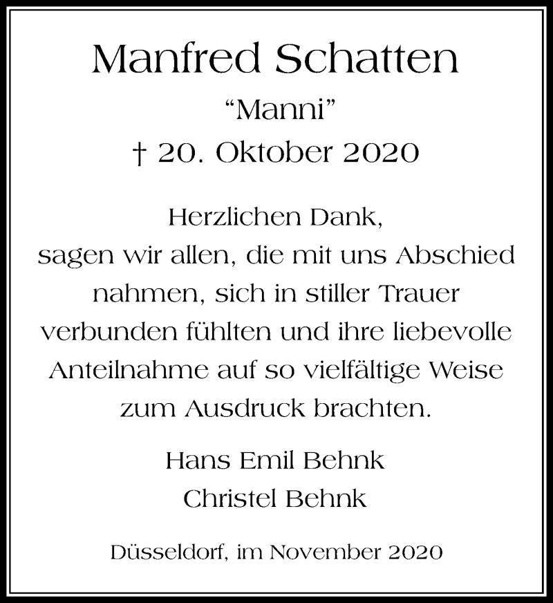 Traueranzeige für Manfred Schatten vom 07.11.2020 aus Rheinische Post