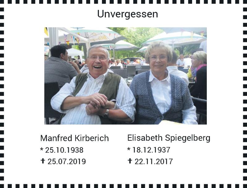 Traueranzeige für Manfred und Elisabeth Kirberich und Spiegelberg vom 21.11.2020 aus Rheinische Post