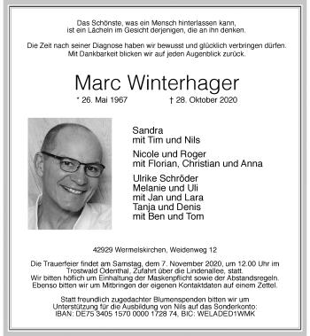Traueranzeige von Marc Winterhager von Rheinische Post