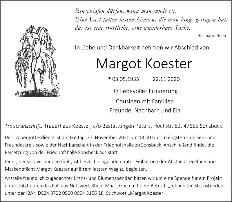 Traueranzeige für Margot Koester vom 24.11.2020 aus Rheinische Post