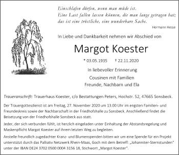 Traueranzeige von Margot Koester von Rheinische Post