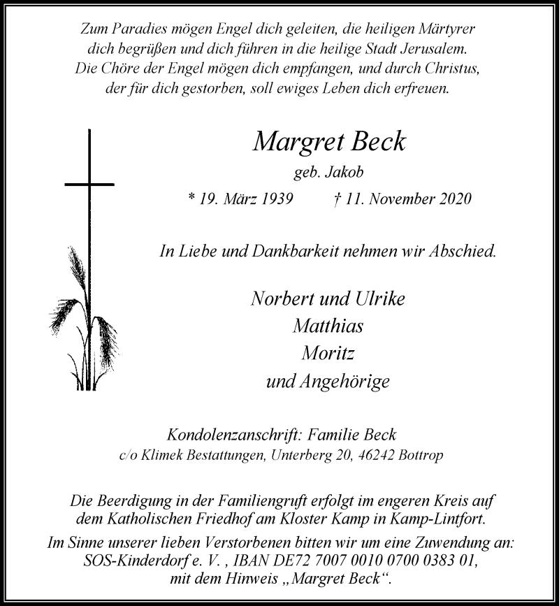 Traueranzeige für Margret Beck vom 18.11.2020 aus Rheinische Post
