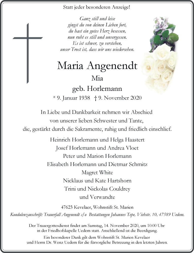 Traueranzeige für Maria Angenendt vom 12.11.2020 aus Rheinische Post
