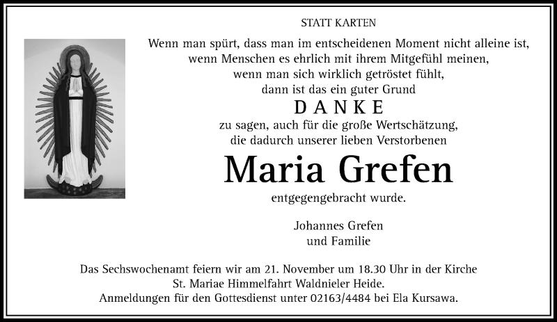 Traueranzeige für Maria Grefen vom 14.11.2020 aus Rheinische Post