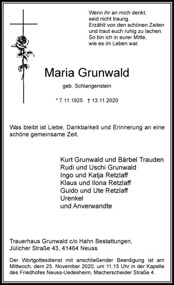 Traueranzeige von Maria Grunwald von Rheinische Post