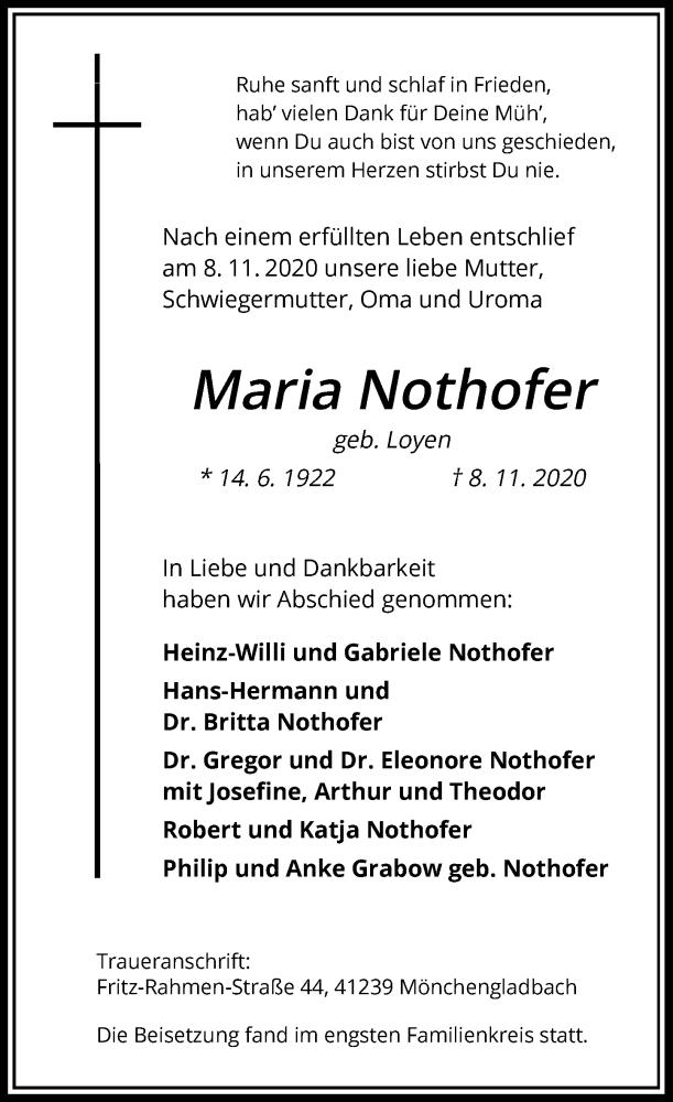 Traueranzeige für Maria Nothofer vom 18.11.2020 aus Rheinische Post