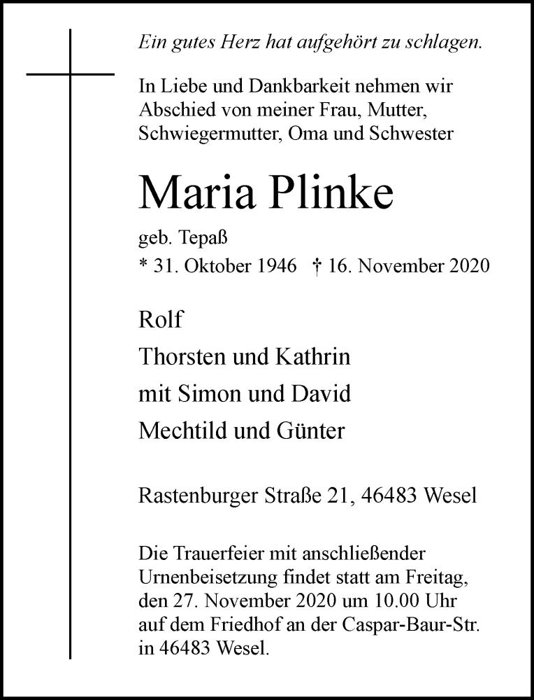 Traueranzeige für Maria Plinke vom 21.11.2020 aus Rheinische Post