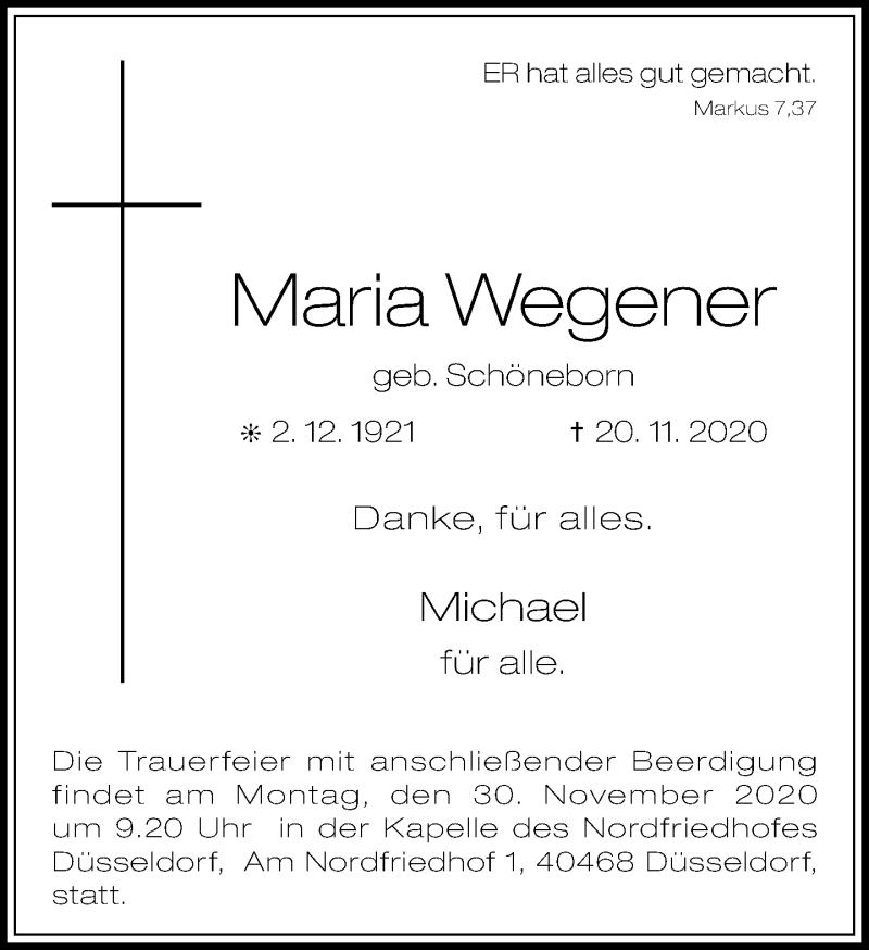 Traueranzeige für Maria Wegener vom 28.11.2020 aus Rheinische Post