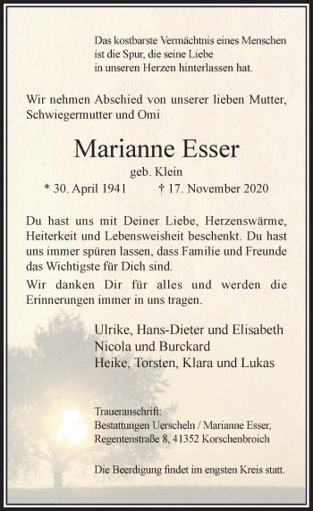 Traueranzeige von Marianne Esser von Rheinische Post