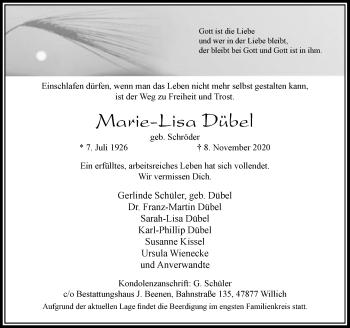 Traueranzeige von Marie-Lisa Dübel von Rheinische Post