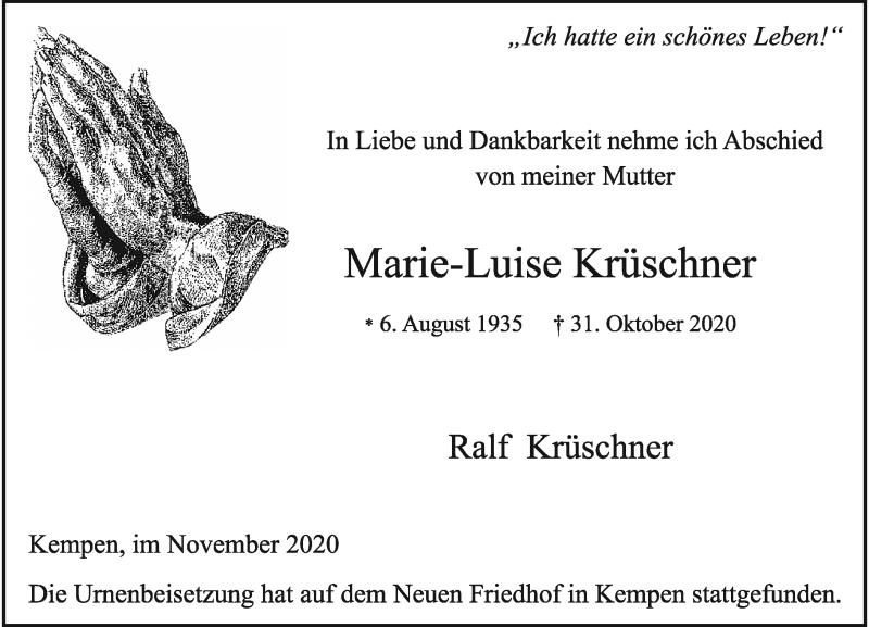 Traueranzeige für Marie-Luise Krüschner vom 28.11.2020 aus Rheinische Post
