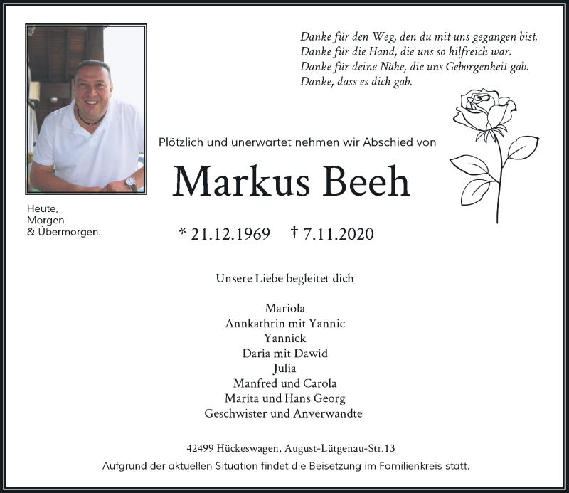Traueranzeige für Markus Beeh vom 14.11.2020 aus Rheinische Post