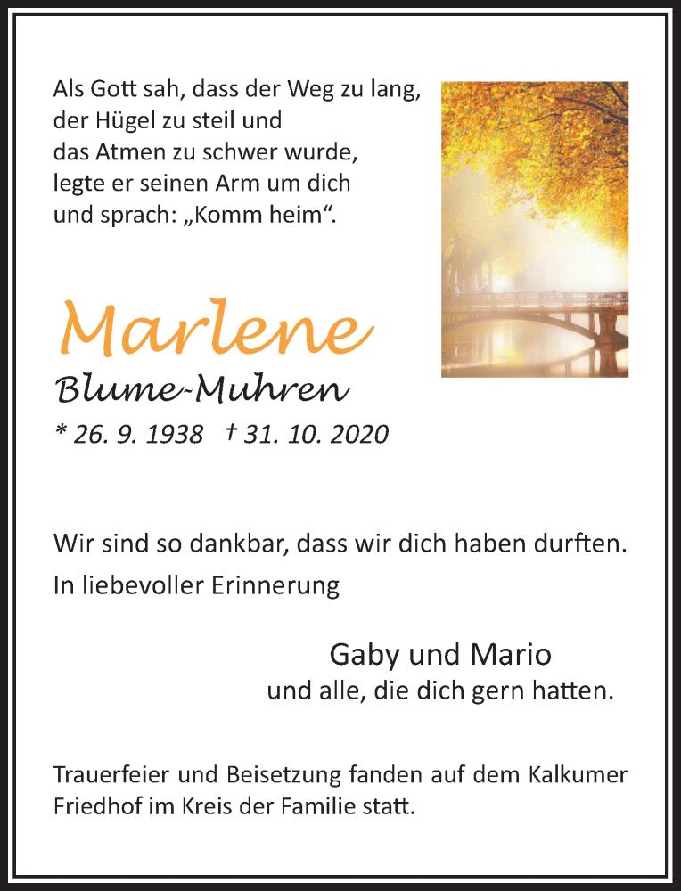 Traueranzeige für Marlene Blume-Muhren vom 28.11.2020 aus Rheinische Post