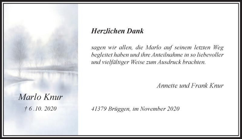 Traueranzeige für Marlo Knur vom 07.11.2020 aus Rheinische Post