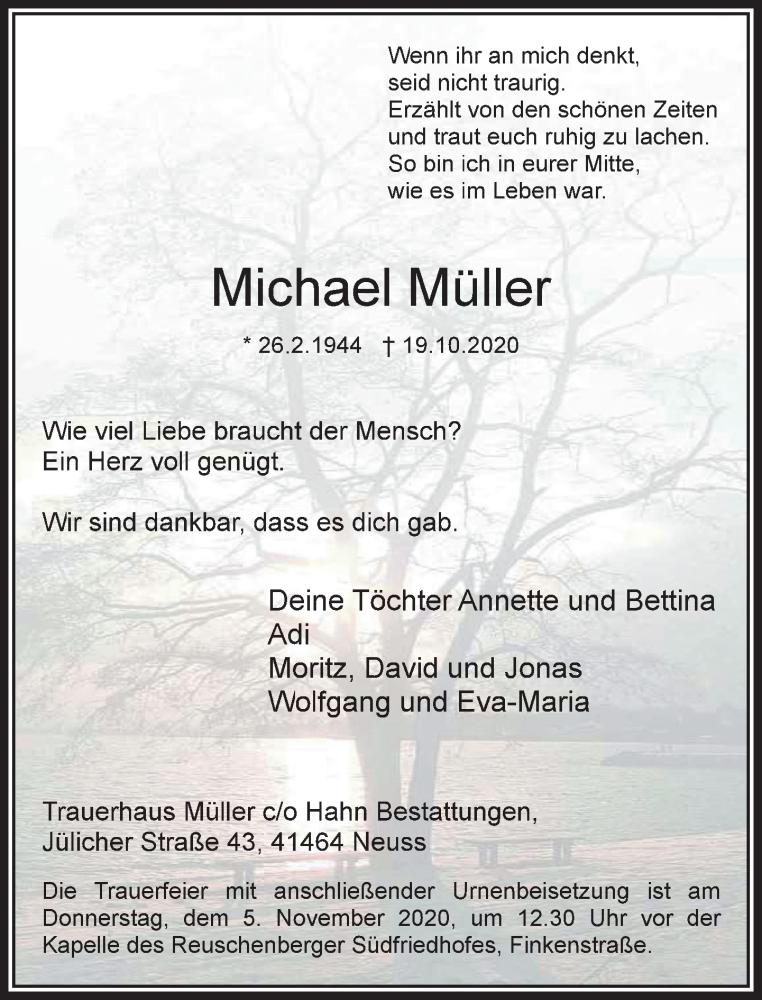 Traueranzeige für Michael Müller vom 31.10.2020 aus Rheinische Post