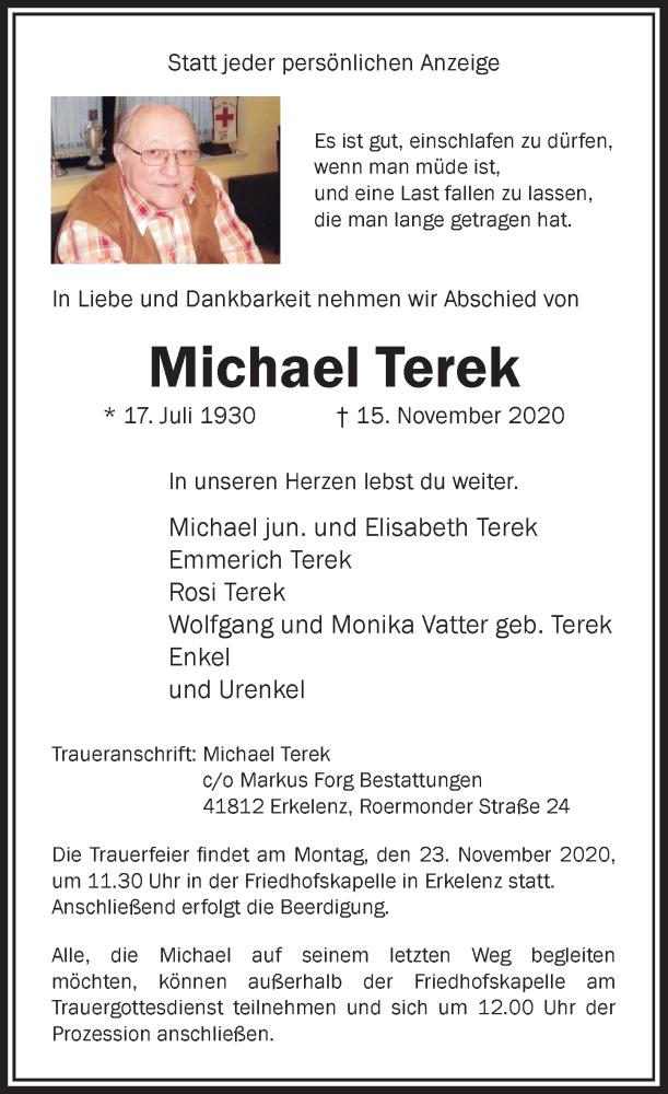 Traueranzeige für Michael Terek vom 18.11.2020 aus Rheinische Post
