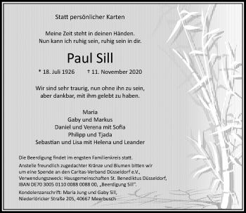 Traueranzeige von Paul Sill von Rheinische Post