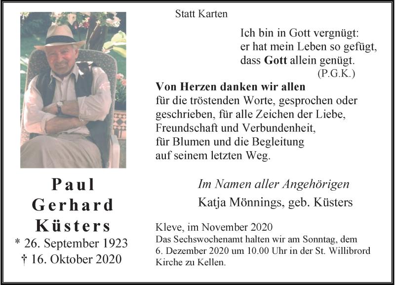 Traueranzeige für Paul Gerhard Küsters vom 28.11.2020 aus Rheinische Post