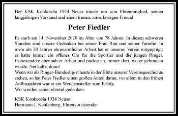 Traueranzeige von Peter Fiedler von Rheinische Post