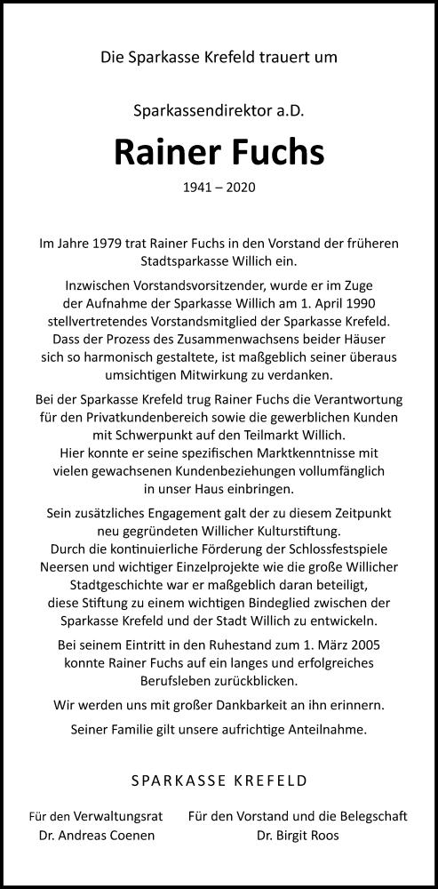 Traueranzeige für Rainer Fuchs vom 14.11.2020 aus Rheinische Post