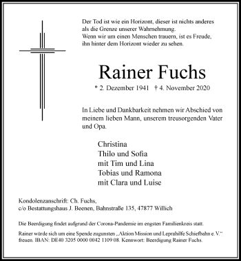 Traueranzeige von Rainer Fuchs von Rheinische Post