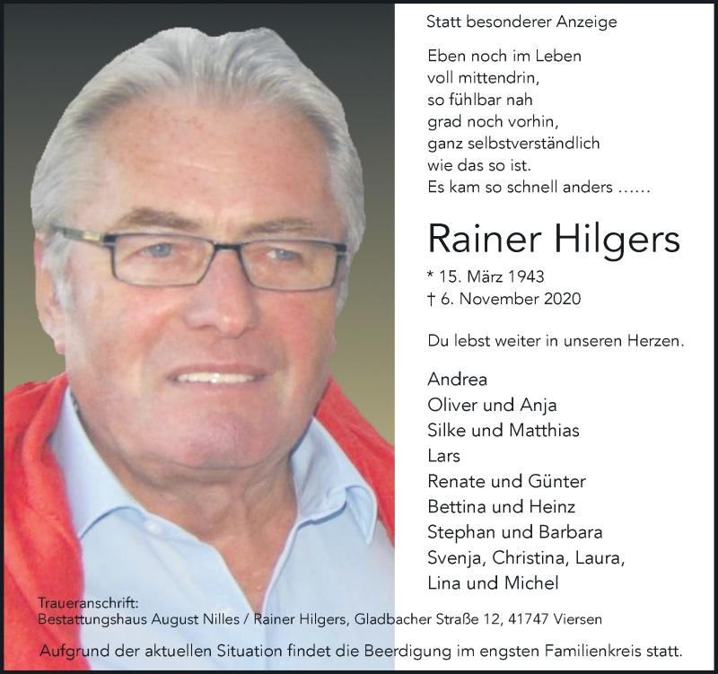 Traueranzeige für Rainer Hilgers vom 14.11.2020 aus Rheinische Post