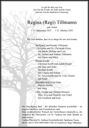 Traueranzeige von Regina  Tillmanns von Rheinische Post
