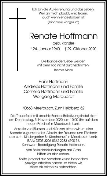 Traueranzeige von Renate Hoffmann von Rheinische Post