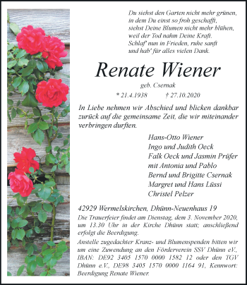 Traueranzeige von Renate Wiener von Rheinische Post