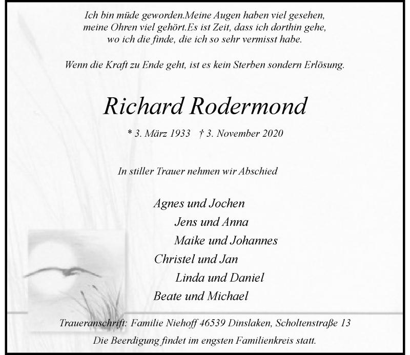 Traueranzeige für Richard Rodermond vom 07.11.2020 aus Rheinische Post