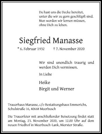 Traueranzeige von Siegfried Manasse von Rheinische Post
