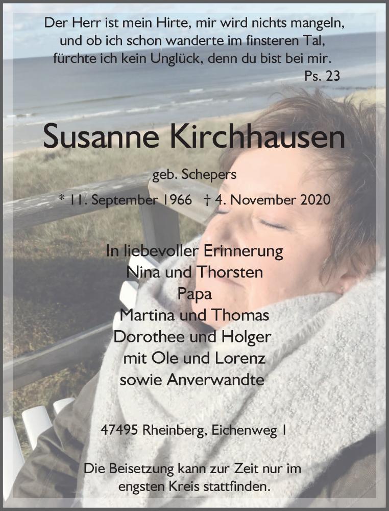 Traueranzeige für Susanne Kirchhausen vom 11.11.2020 aus Rheinische Post