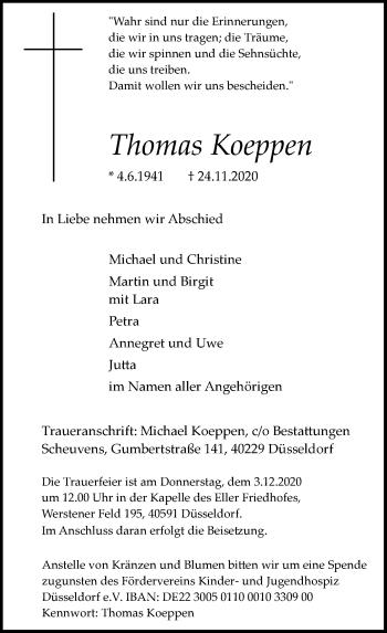 Traueranzeige von Thomas Koeppen von Rheinische Post