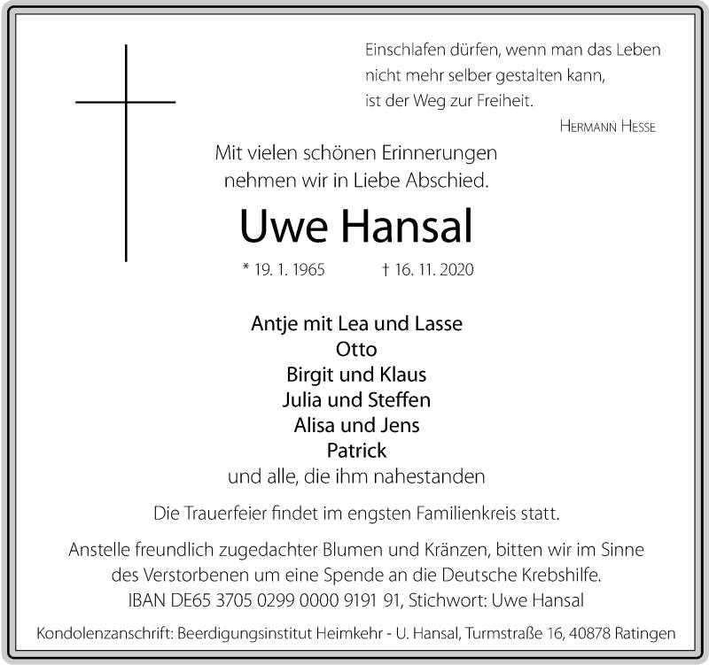 Traueranzeige für Uwe Hansal vom 21.11.2020 aus Rheinische Post