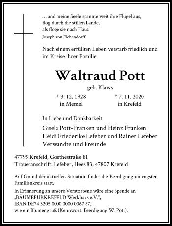Traueranzeige von Waltraud Pott von Rheinische Post