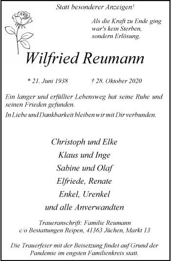 Traueranzeige von Wilfried Reumann von Rheinische Post