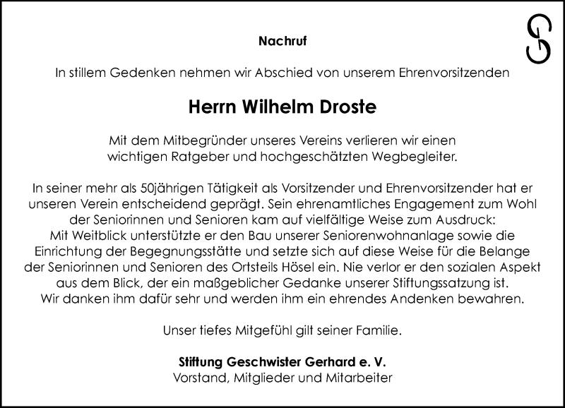 Traueranzeige für Wilhelm Droste vom 04.11.2020 aus Rheinische Post