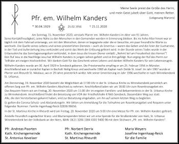 Traueranzeige von Wilhelm Kanders von Rheinische Post