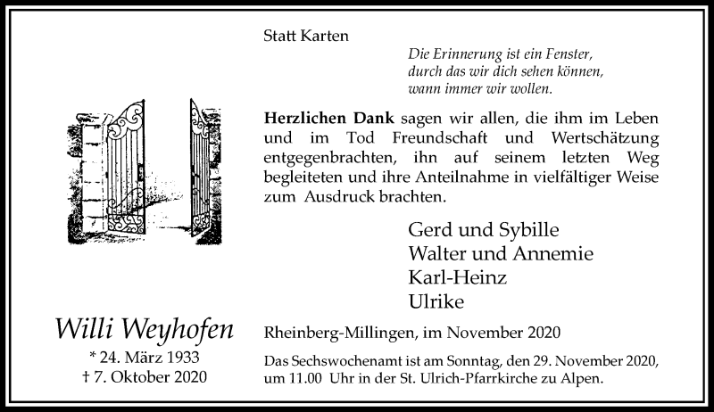 Traueranzeige für Willi Weyhofen vom 21.11.2020 aus Rheinische Post