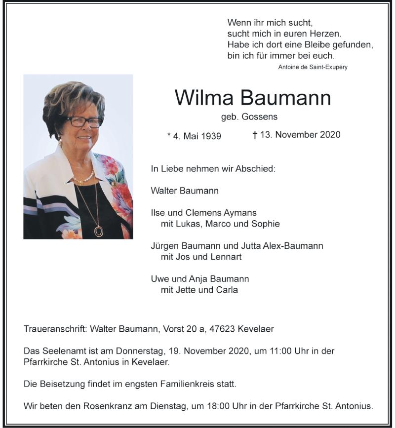 Traueranzeige für Wilma Baumann vom 17.11.2020 aus Rheinische Post
