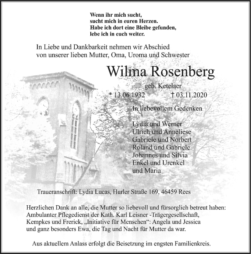 Traueranzeige für Wilma Rosenberg vom 11.11.2020 aus Rheinische Post