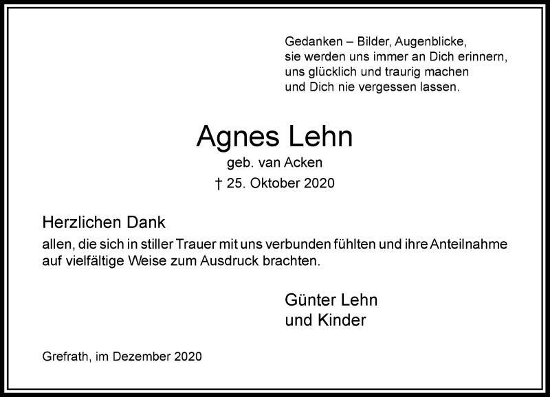 Traueranzeige für Agnes Lehn vom 02.12.2020 aus Rheinische Post