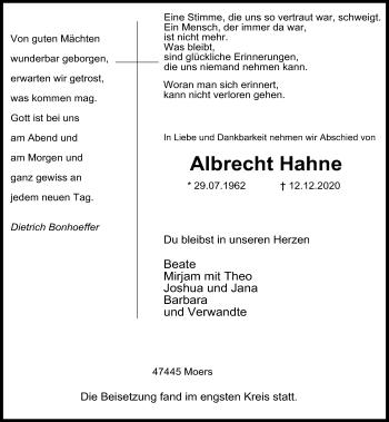 Traueranzeige von Albrecht Hahne von Rheinische Post