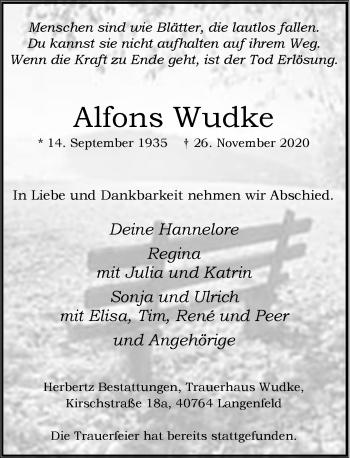 Traueranzeige von Alfons Wudke von Rheinische Post
