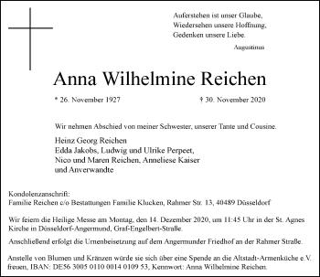 Traueranzeige von Anna Wilhelmine Reichen von Rheinische Post